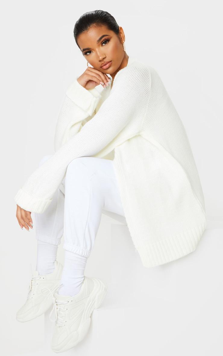 Cream Fluffy Knit Cardigan 3