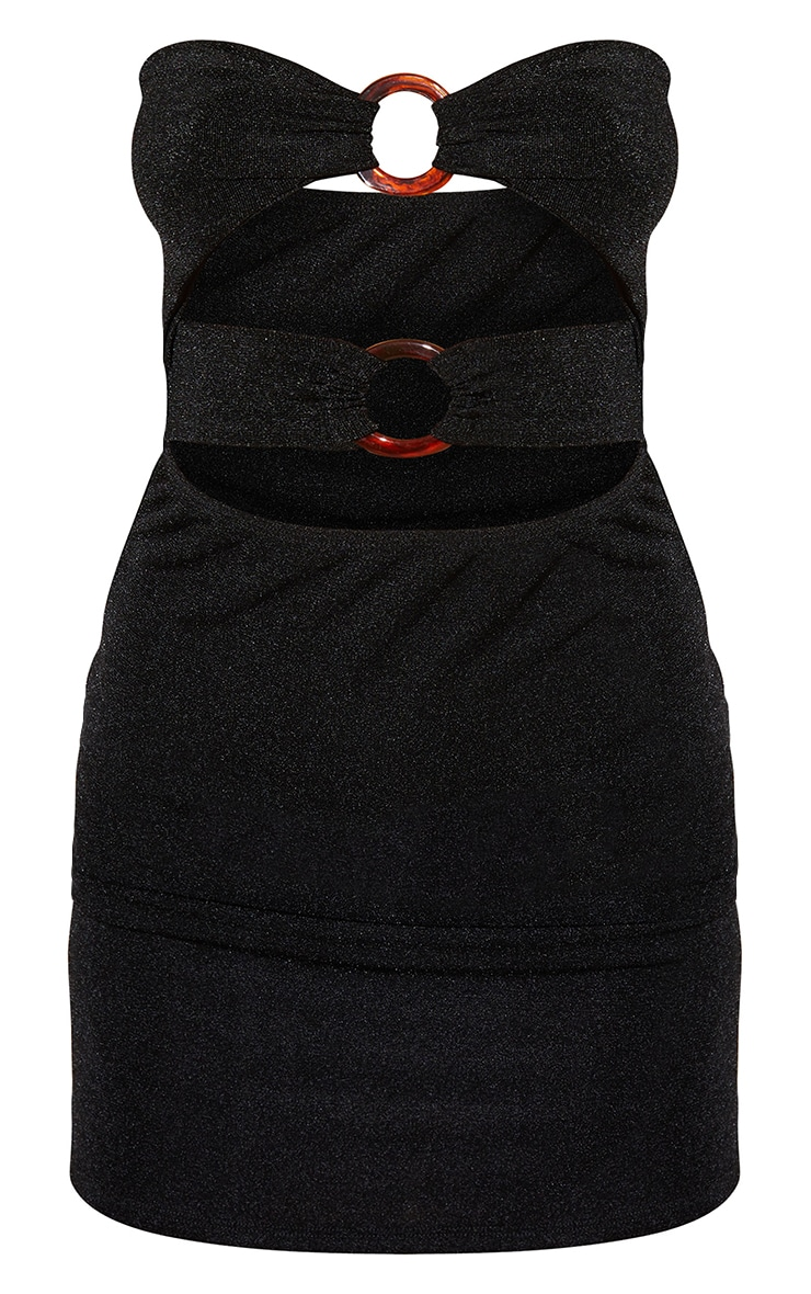 Black Textured Slinky Bandeau Cut Out Ring Detail Bodycon Dress 5