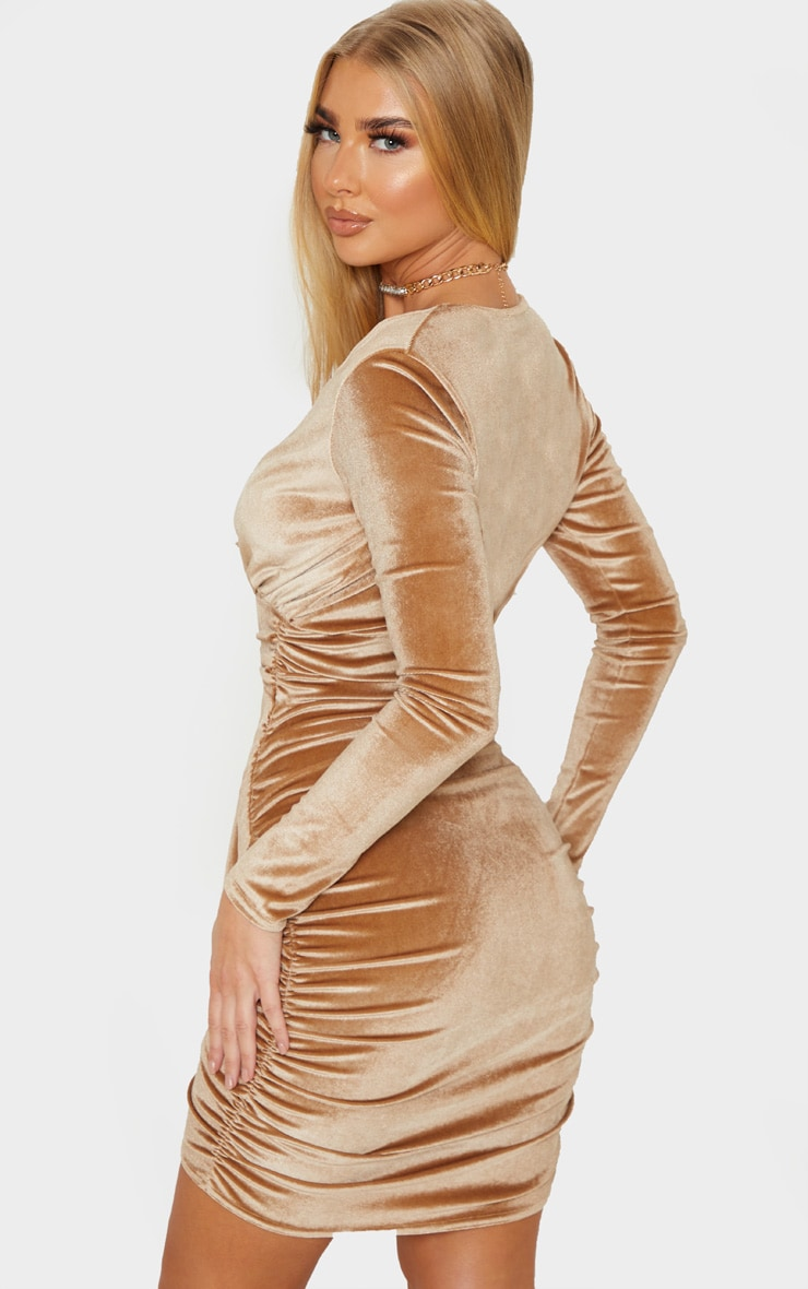 Mocha Velvet Drape Detail Ruched Bodycon Dress 2