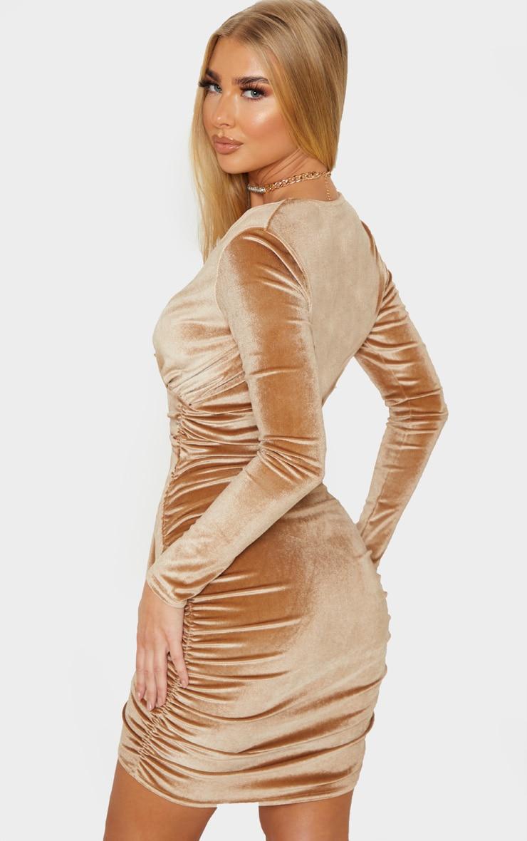 Mocha Velvet Drape Detail Ruched Bodycon Dress 2