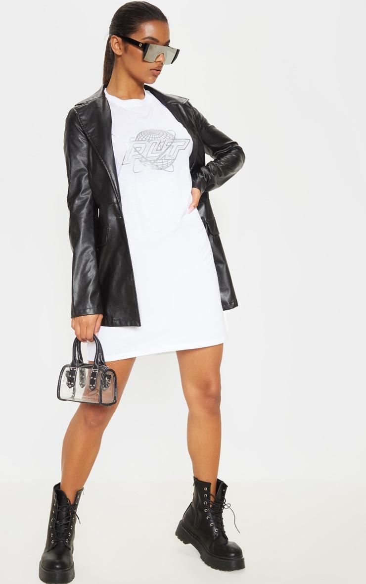 PRETTYLITTLETHING White Space Slogan Oversized T Shirt Dress 4