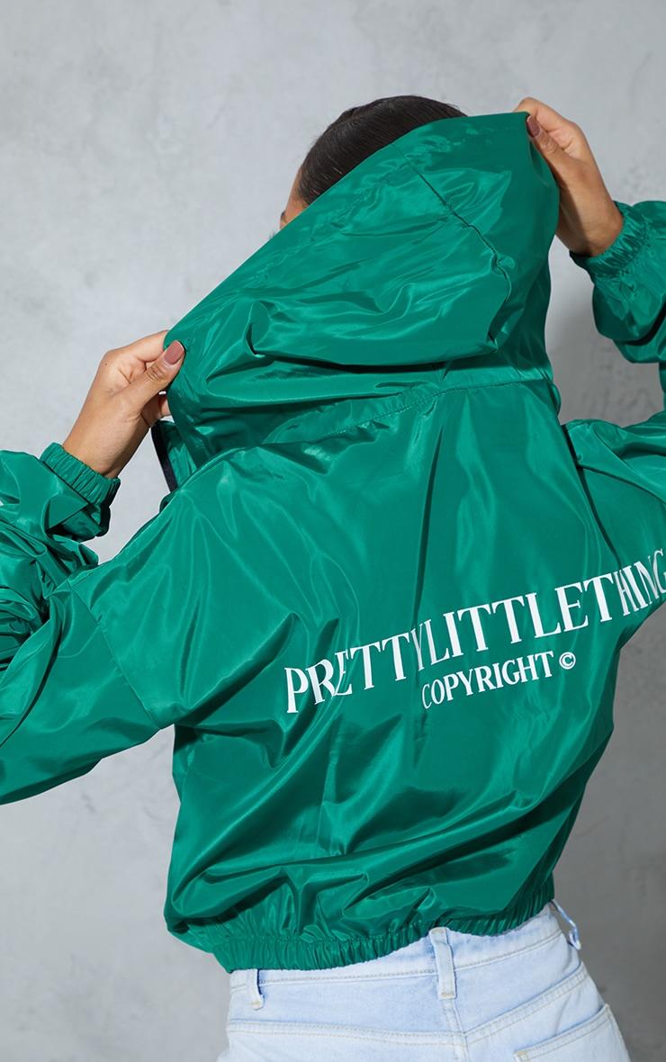 PRETTYLITTLETHING Green Oversized Hooded Shell Jacket 2