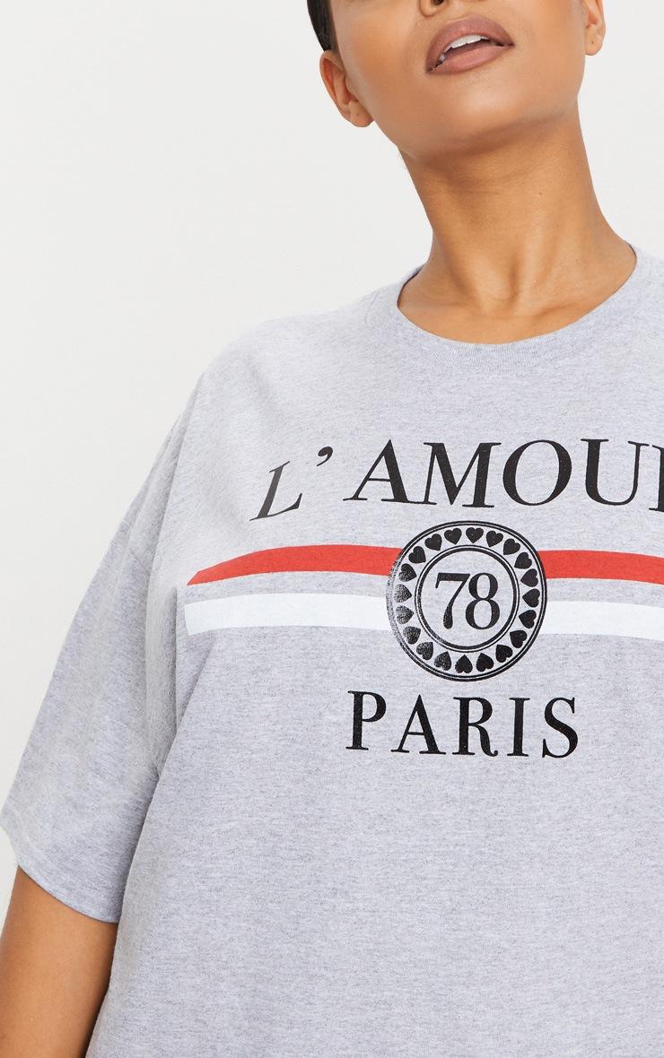 Plus Grey Lamour Slogan Foil Print T Shirt 5