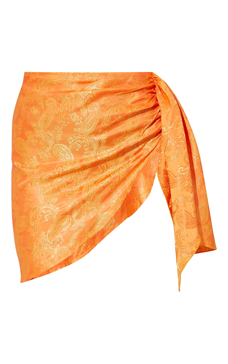 Orange Satin Printed Side Tie Asymmetric Mini Skirt 6