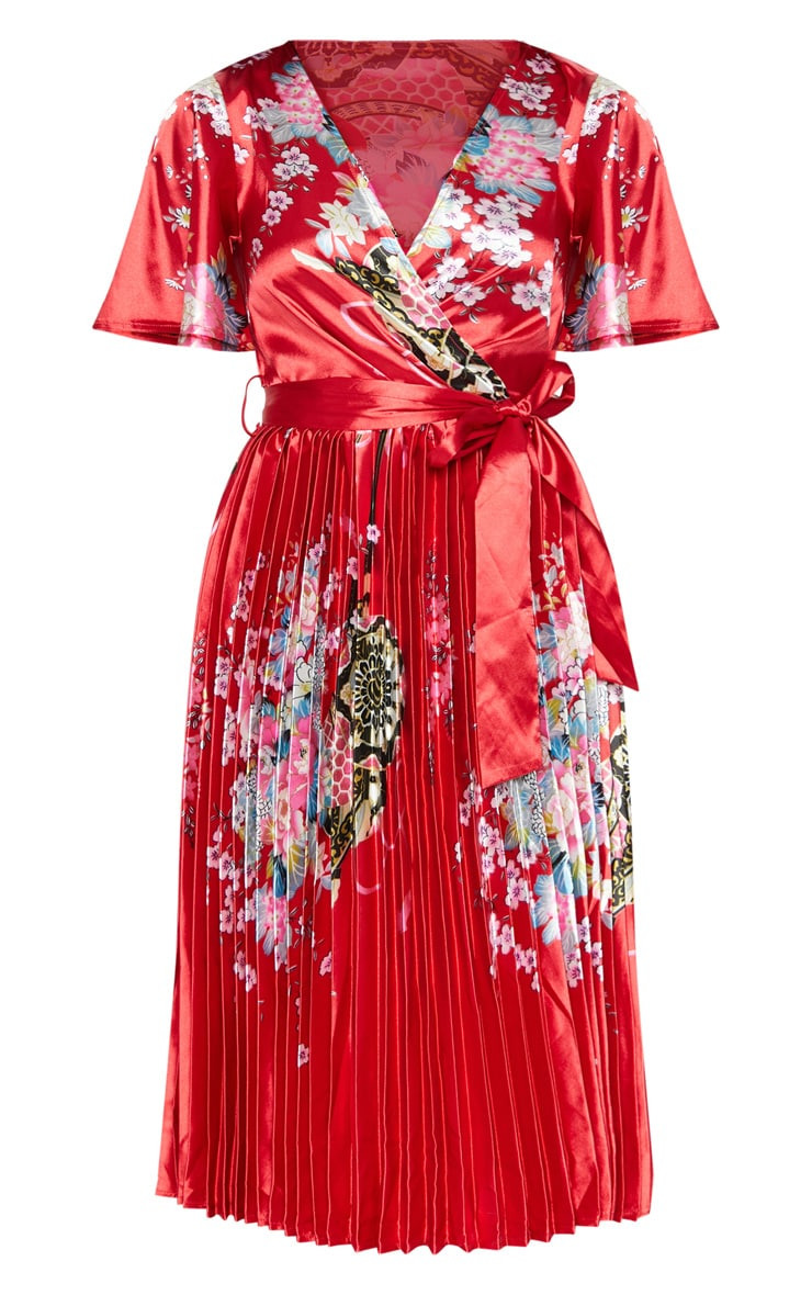 Red Floral Satin Pleated Midi Dress 3
