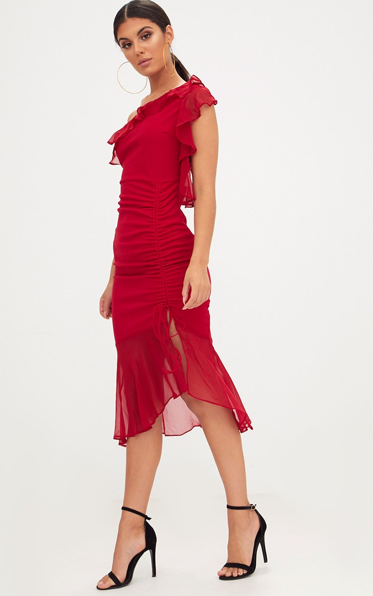 Red Ruched Detail Frill One Shoulder Midi Dress 4
