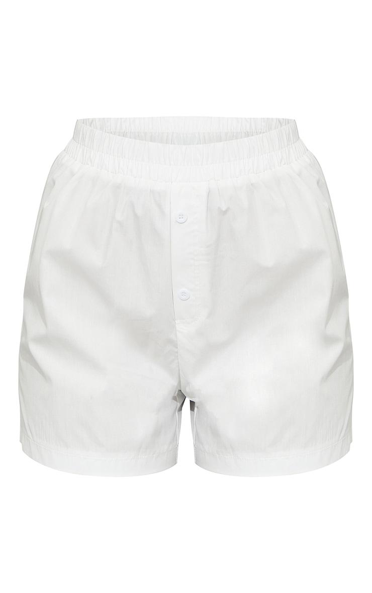 White Woven Boxer Detail Shorts 6