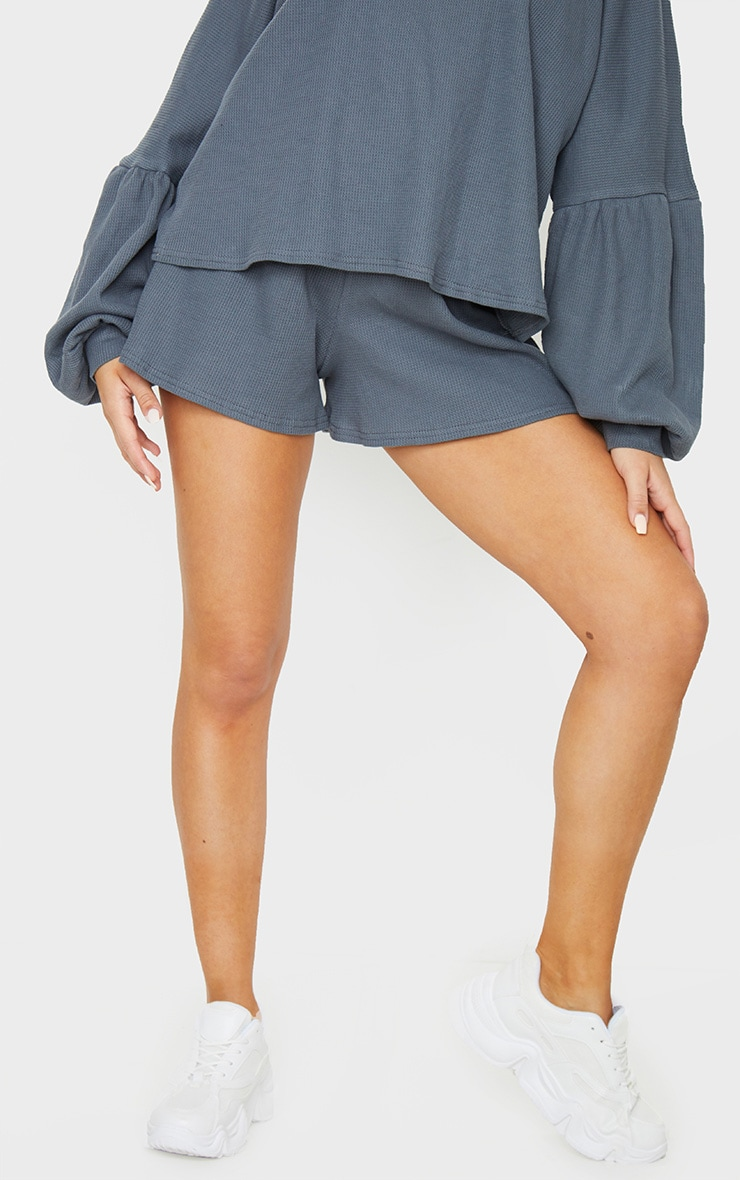 Grey Waffle Knit Shorts 2
