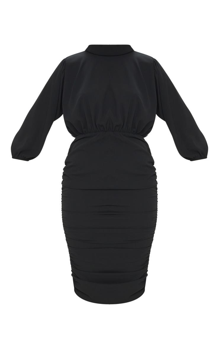 Black Chiffon High Neck Ruched Midi Dress 5