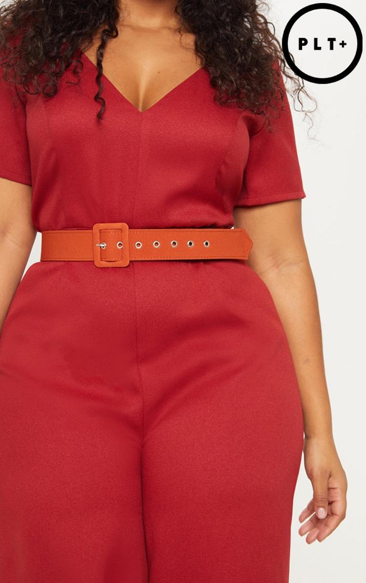 Plus Rust Oversized Buckle Detail Belt