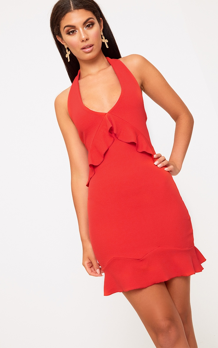 Red Halterneck Frill Detail Bodycon Dress 1