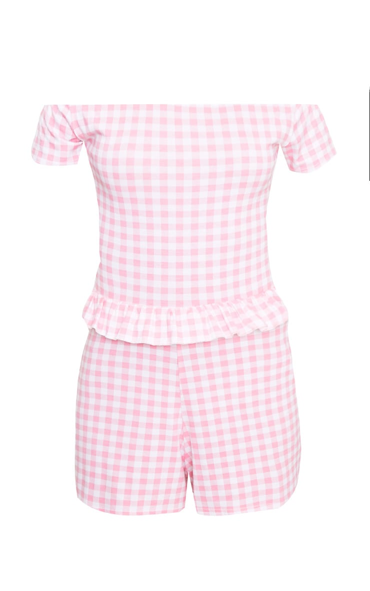 Pink Gingham Frill Middle Playsuit  3