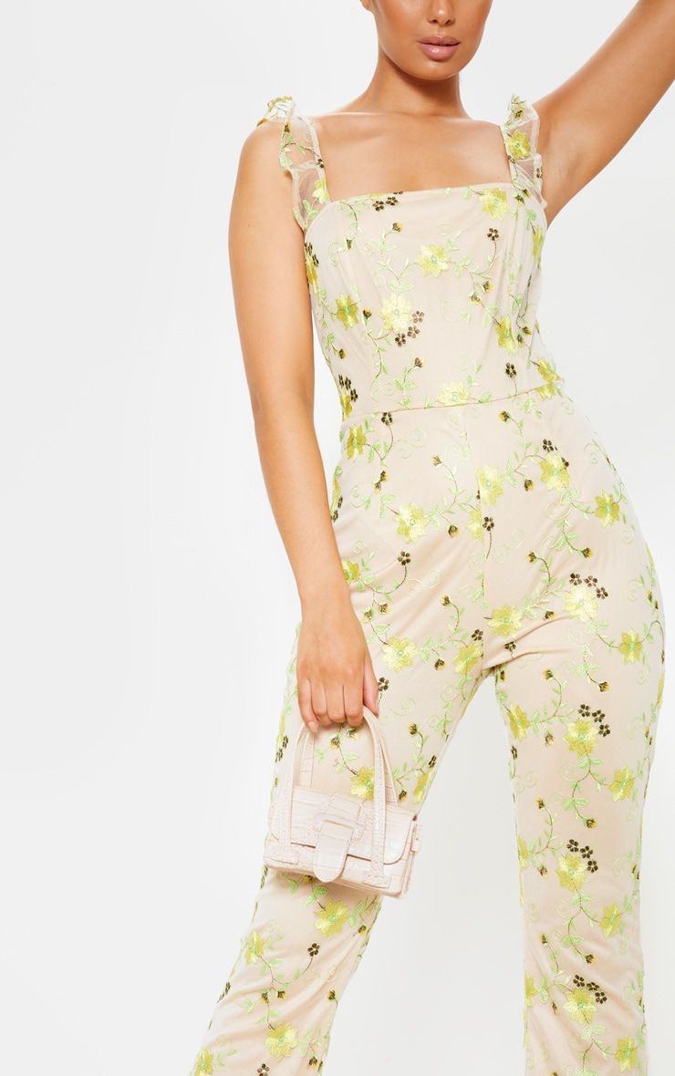 Yellow Floral Embroidered Sleeveless Flared Leg Jumpsuit 5