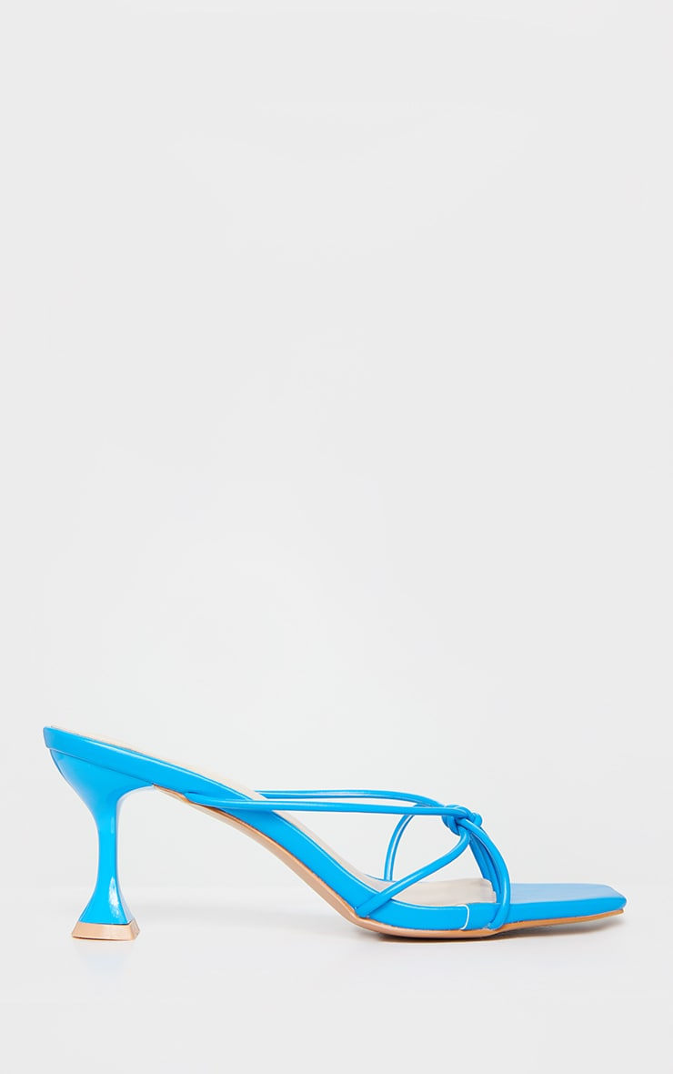 Bright Blue Knot Toe Thong Low Heel Cake Stand Mules 3