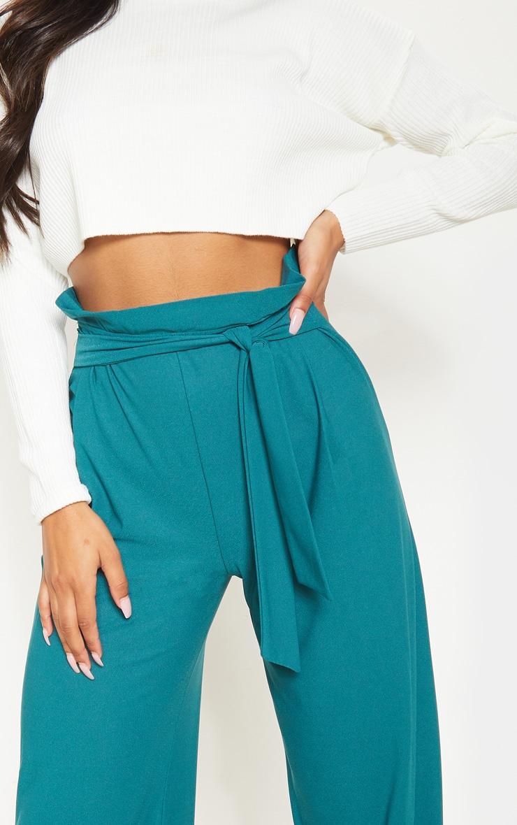Pantalon ample ceinturé vert jade 5
