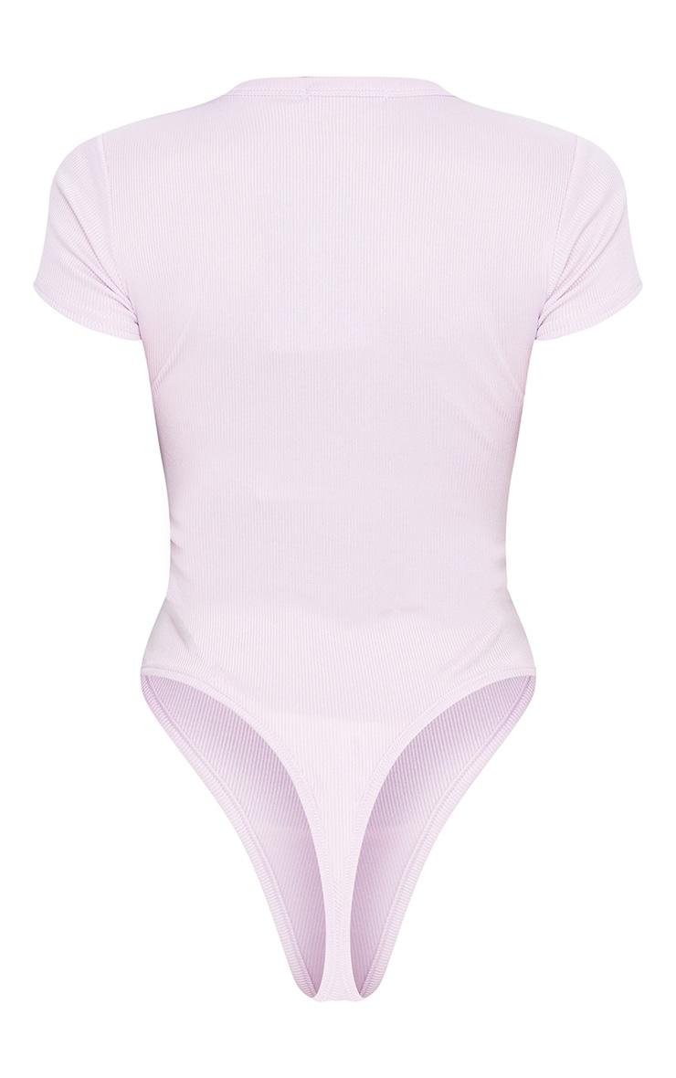 Lilac Short Sleeve Crew Neck Bodysuit 2