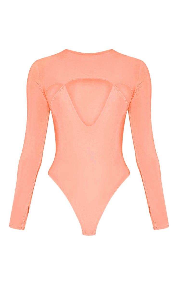 Peach Slinky Cut Out Long Sleeve Thong Bodysuit 3