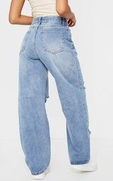 Petite Light Blue Wash Baggy Low Rise Ripped Boyfriend Jeans 3