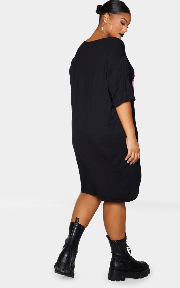 Plus Black Neon Skeleton Oversized T Shirt Dress 2