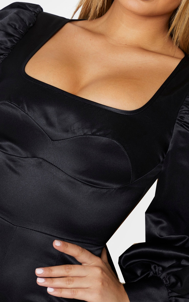 Black Bonded Satin Bust Detail Playsuit 5