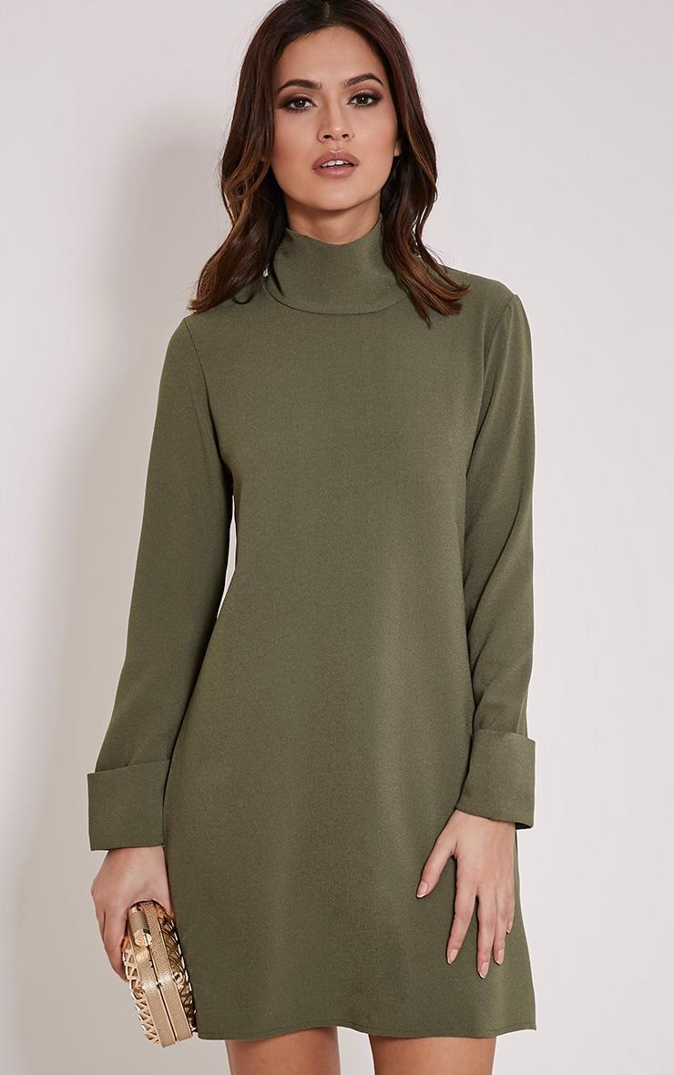 Nickie Khaki Roll Neck Shift Dress 1