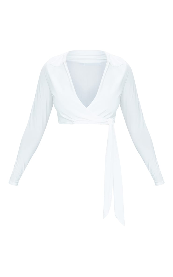 Cream Slinky Tie Front Cropped Blouse 5