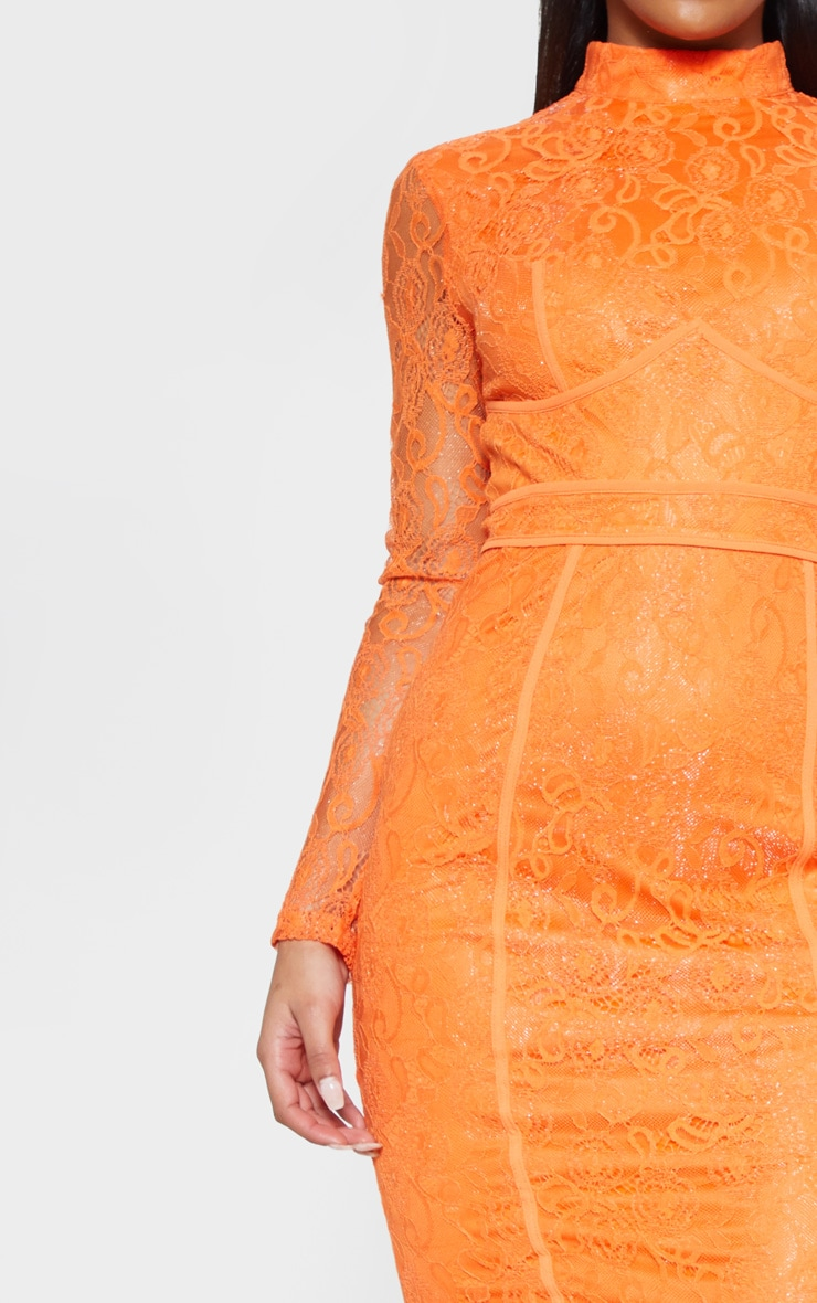 Bright Orange Lace Binding Detail High Neck Midi Dress 5