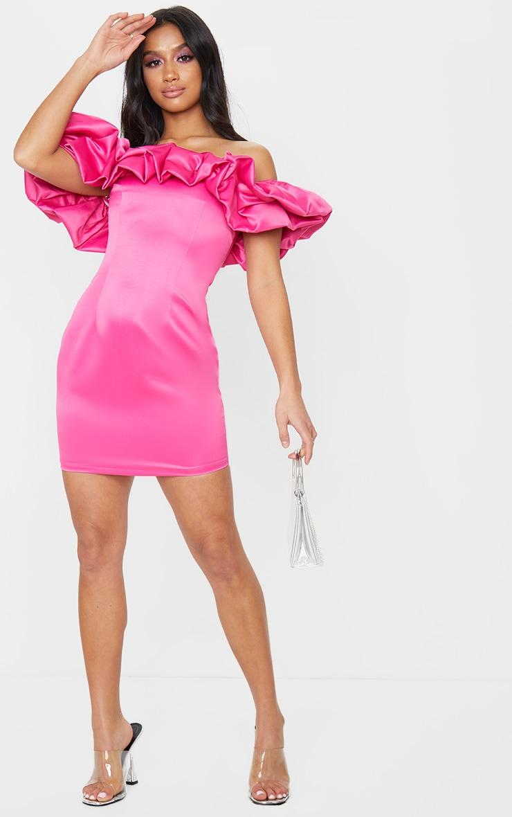 Petite Hot Pink Ruched Bardot Dress 3