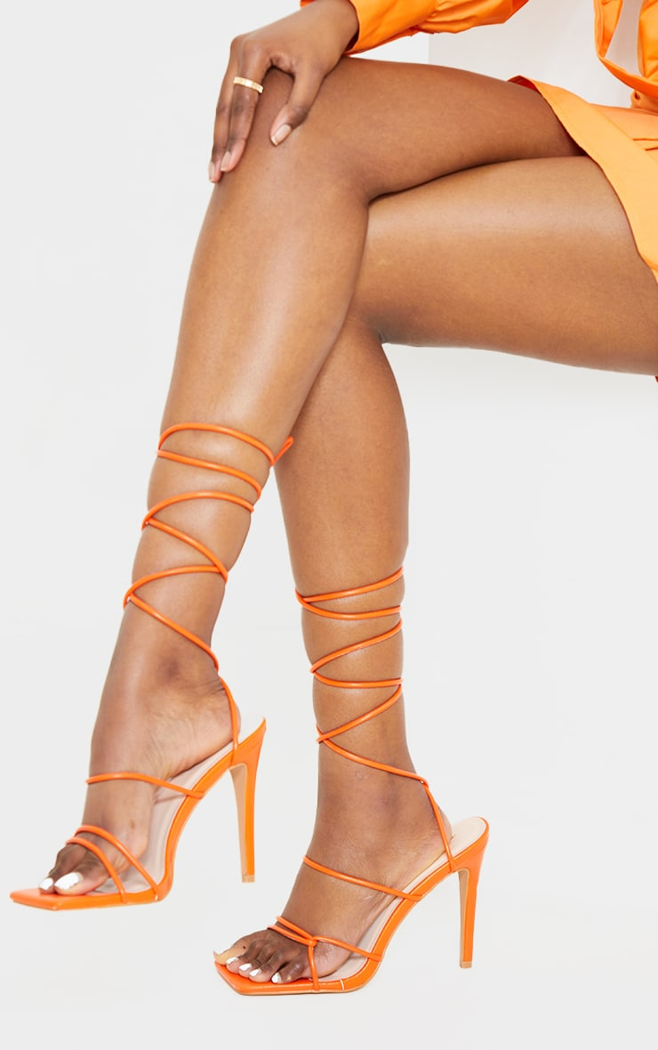 Orange Wide Fit Tube Strappy Laces Up High Heels 2