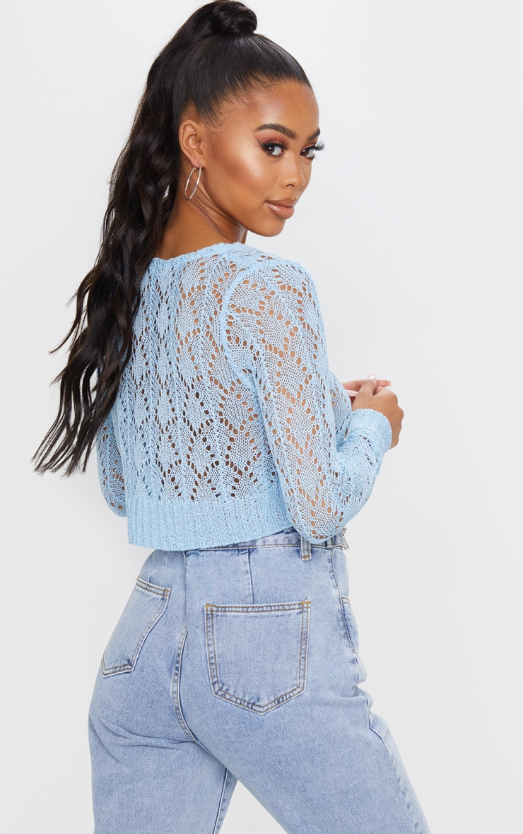 Light Blue Crochet Tie Front Knitted Cardigan 2