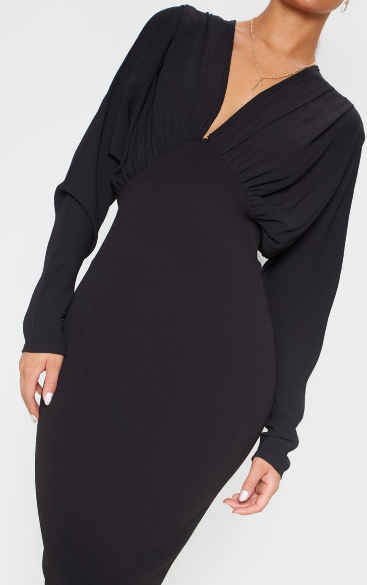 Black Batwing Ruched Bust Midi Dress 5
