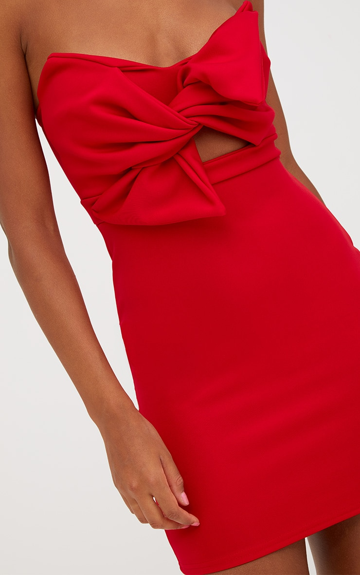 Red Scuba Bow Detail Bodycon Dress 5