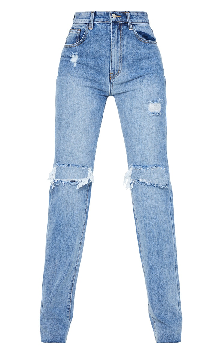 PRETTYLITTLETHING Tall Mid Blue Wash Distressed Long Leg Straight Jean 5