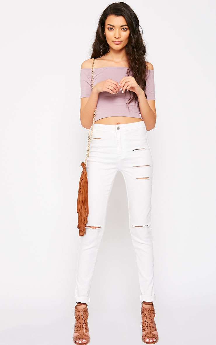 Basic Mauve Bardot Crop Top 3