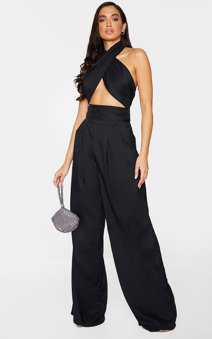 Black Woven Pleated Front Wide Leg Pants 1