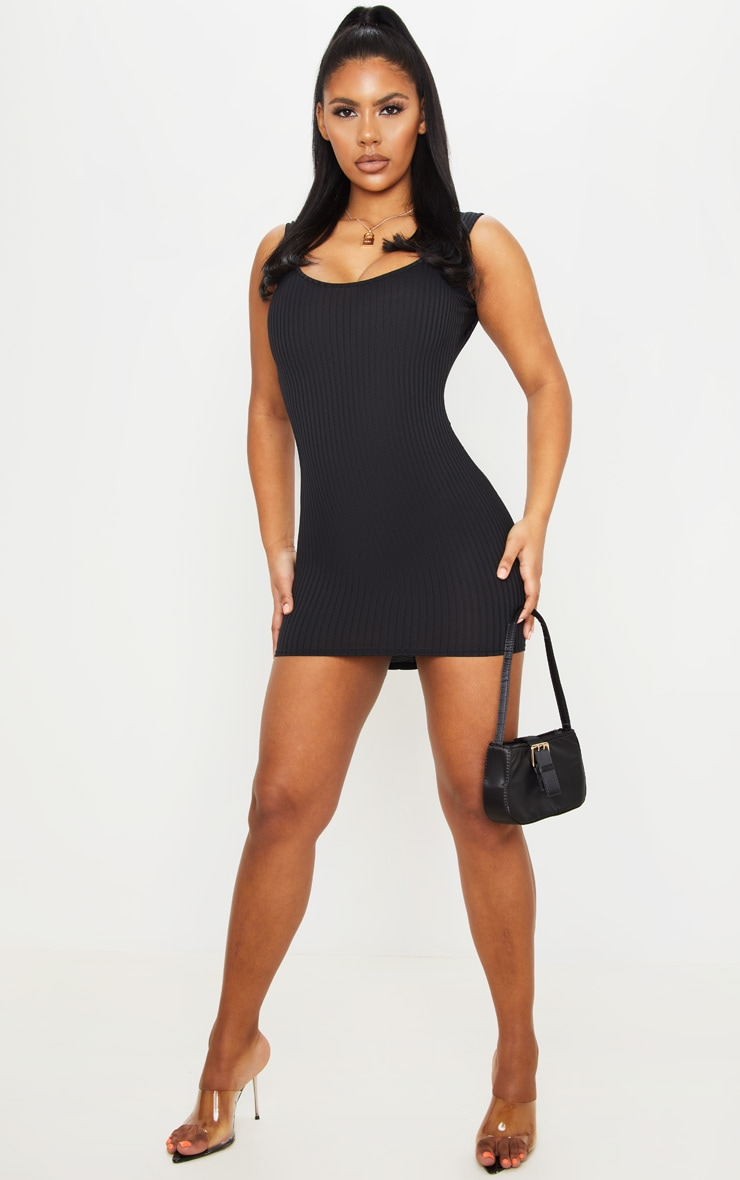 Black Ribbed Ruched Back Bodycon Dress 3