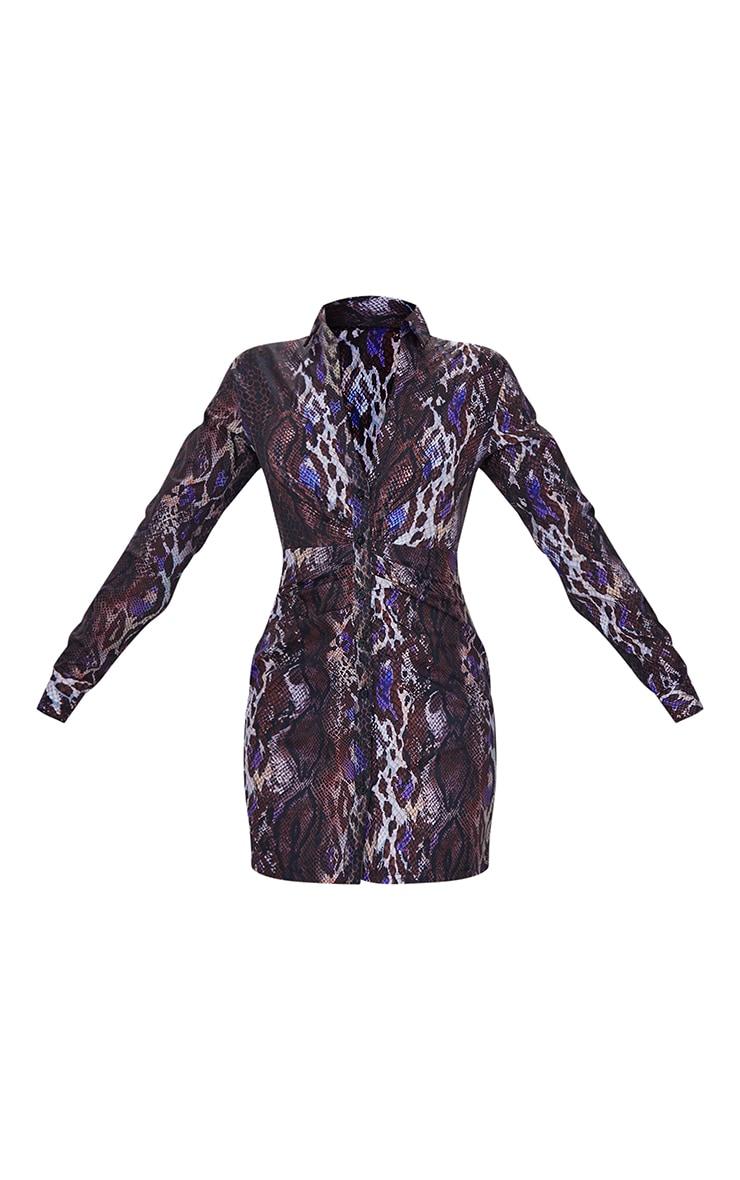 Brown Snake Print Ruched Waist Detail Plunge Shirt Dress 5