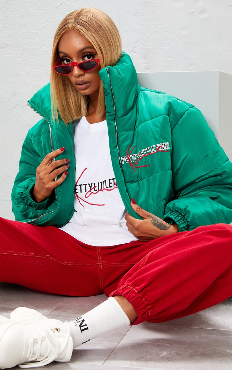 KARL KANI Green Embroidered Puffa Jacket 7