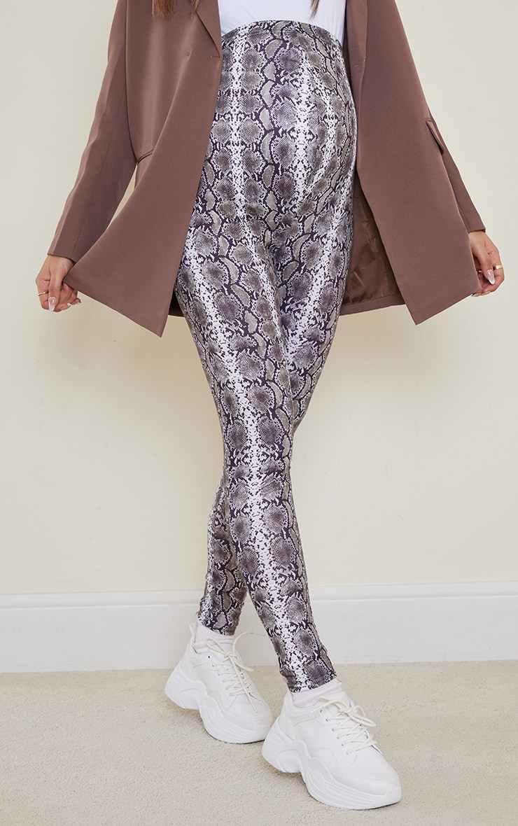 Maternity Grey Snake Print Jersey Leggings 2