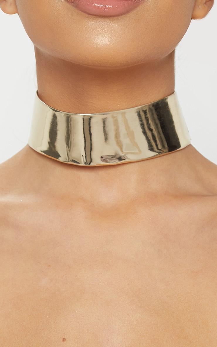 Gold Metallic PU Choker 1