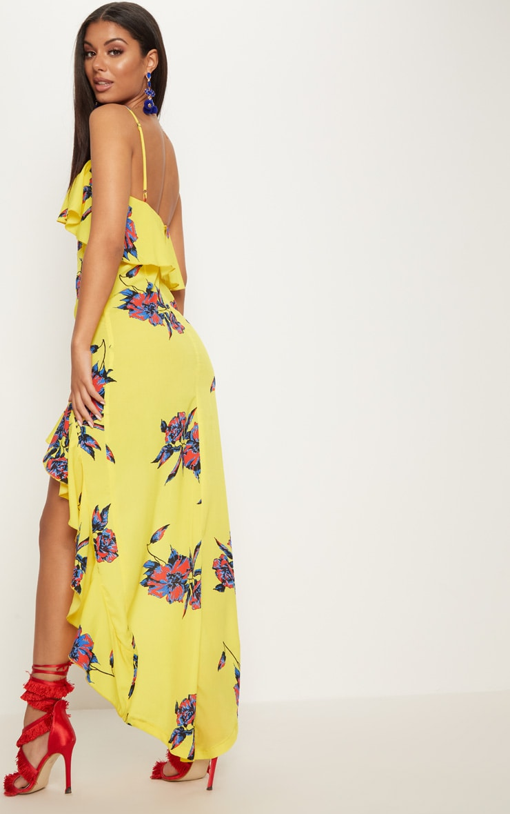 Yellow Floral Frill Detail Dipped Hem Maxi Dress Pretty Little Thing