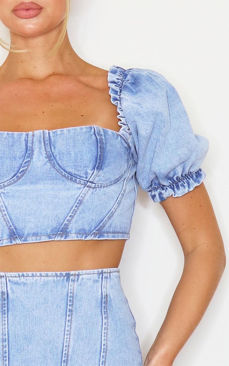 Light Blue Wash Sweetheart Seam Detail Ruched Sleeve Denim Crop Top 4