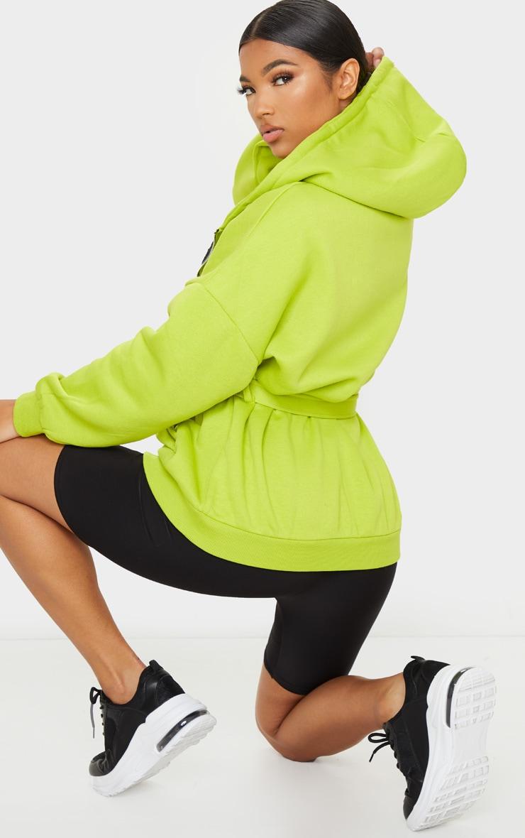 Lime Oversized Longline Zip Belted Hoodie Jacket 2
