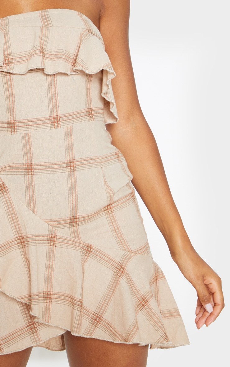 Beige Check Woven Frill Hem Bodycon Dress 5