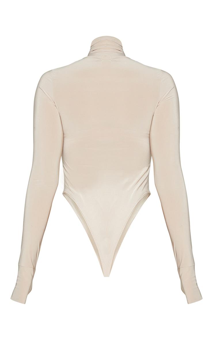 Stone Slinky High Neck Asymmetric Cut Out Long Sleeve Bodysuit 6