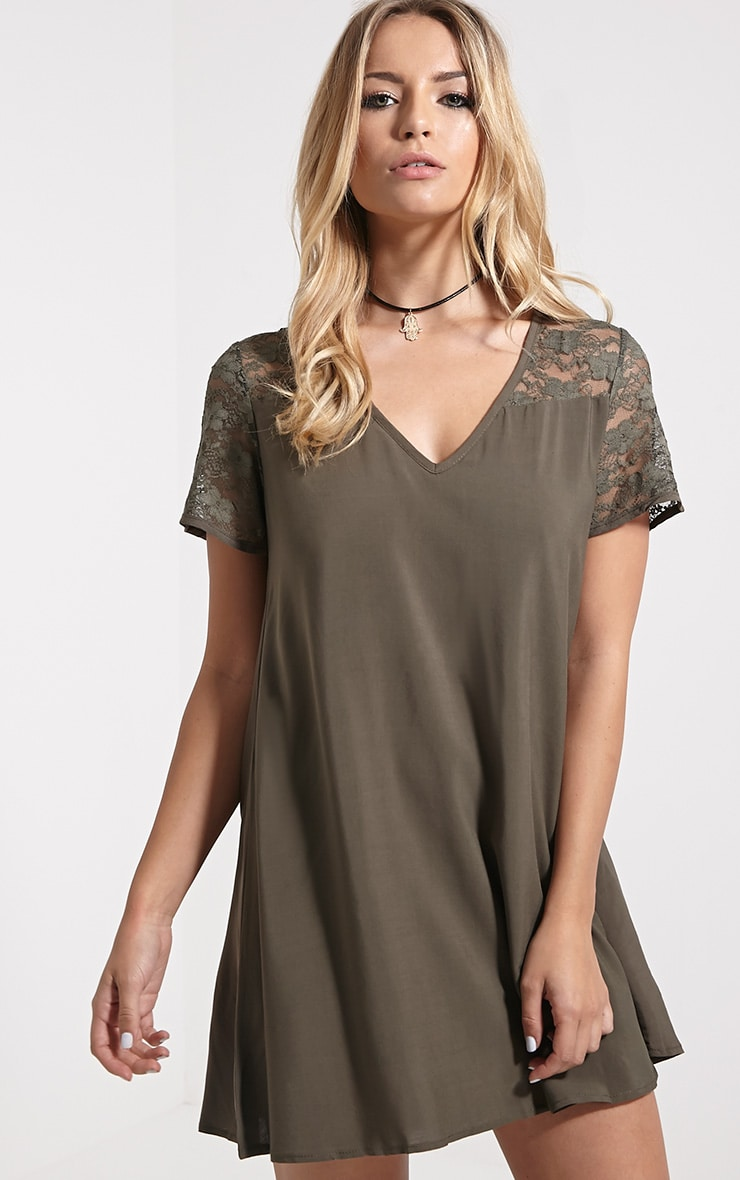 Uri Khaki Lace Detail Shift Dress 1