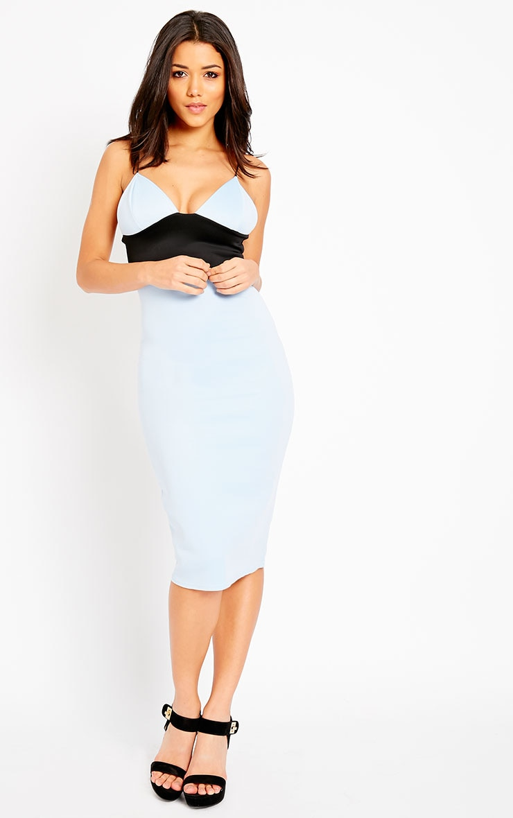 Georgia Powder Blue Colour Block Midi Dress 1