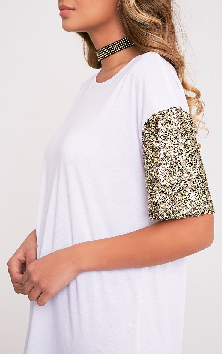 Rei White Sequin Sleeve Jersey Oversized T Shirt 6