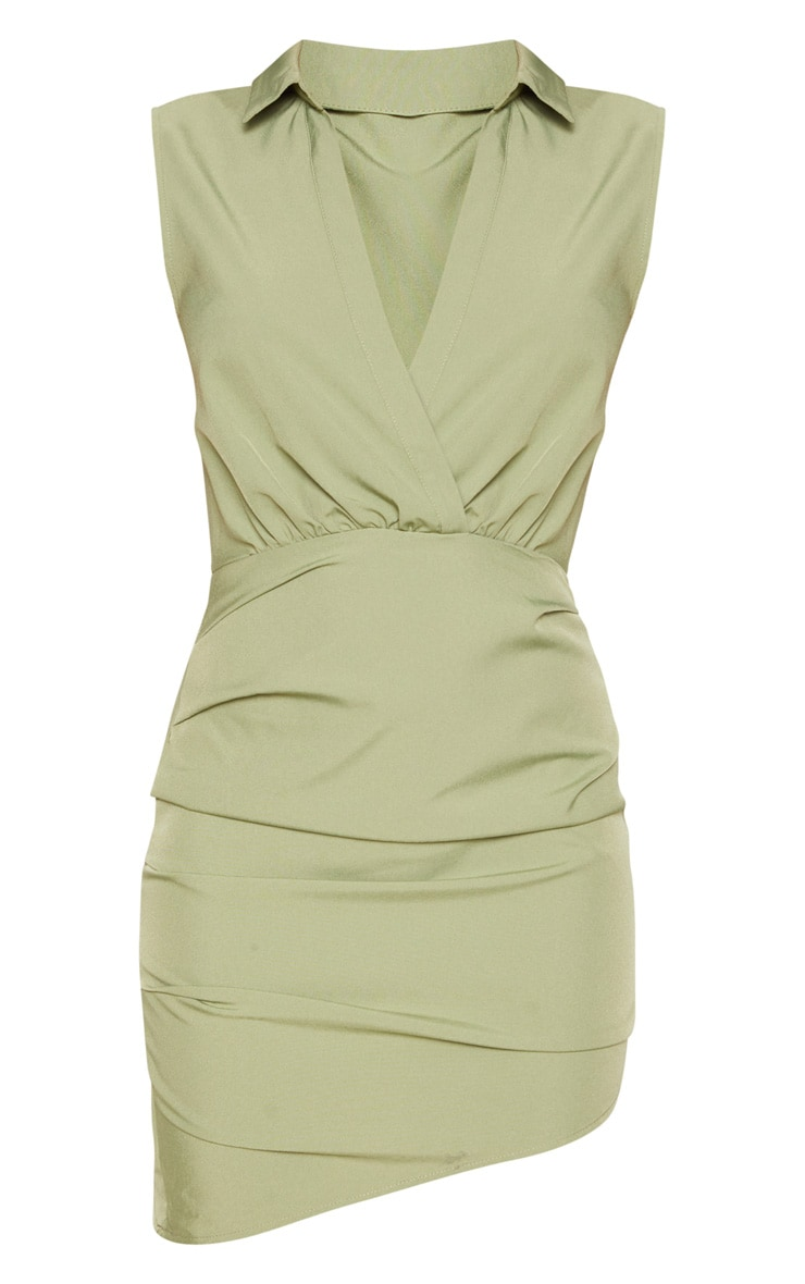 Olive Khaki Sleeveless Ruched Drape Shirt Dress 3