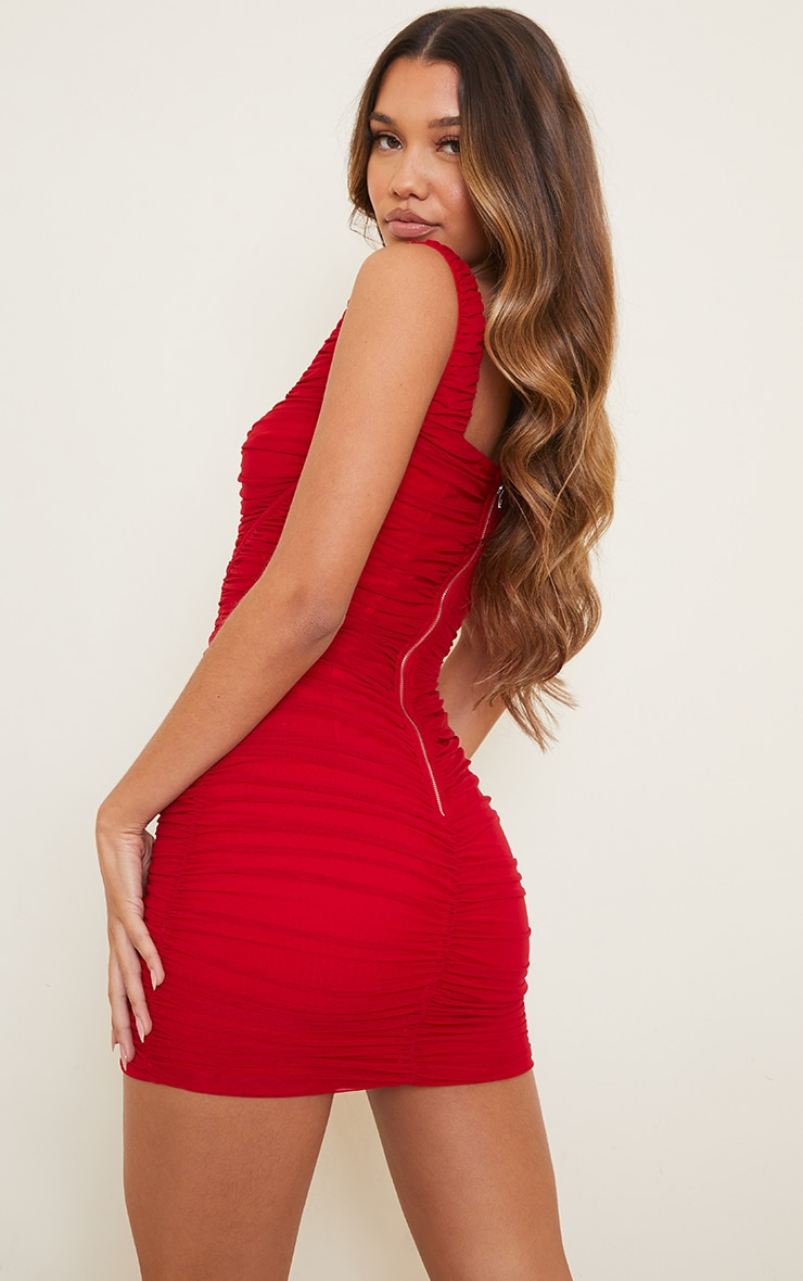 Red Square Neck Mesh Ruched Binding Detail Bodycon Dress 2